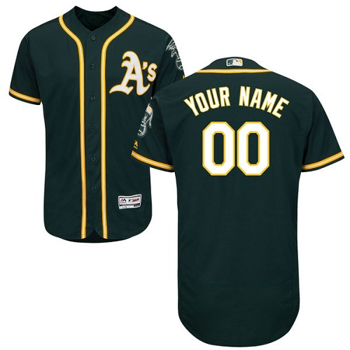 Men's Majestic Oakland Athletics Customized Green Alternate Flex Base Authentic Collection MLB Jersey
