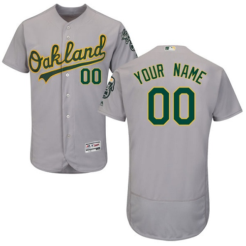 Men's Majestic Oakland Athletics Customized Grey Road Flex Base Authentic Collection MLB Jersey