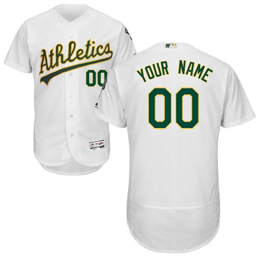 Men's Majestic Oakland Athletics Customized White Home Flex Base Authentic Collection MLB Jersey