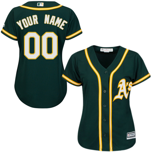 Women's Majestic Oakland Athletics Customized Authentic Green Alternate 1 Cool Base MLB Jersey