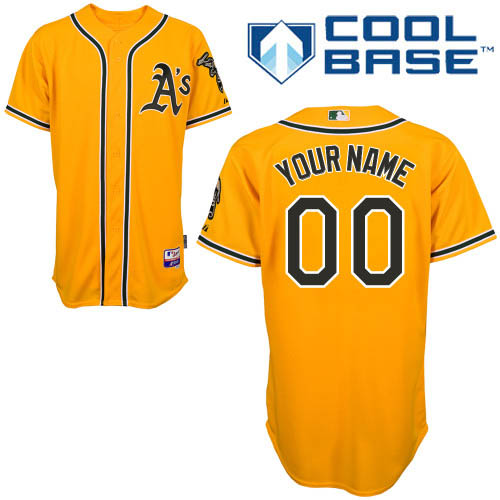 Youth Majestic Oakland Athletics Customized Replica Gold Alternate 2 Cool Base MLB Jersey