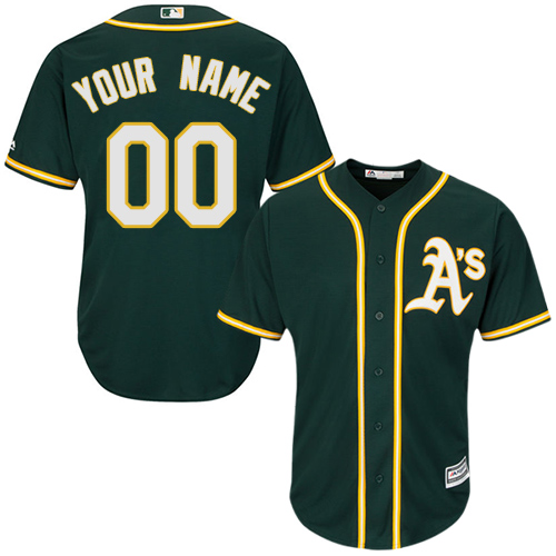 Youth Majestic Oakland Athletics Customized Replica Green Alternate 1 Cool Base MLB Jersey