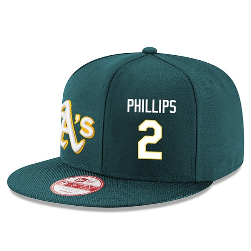 MLB Men's Oakland Athletics #2 Tony Phillips Stitched New Era Snapback Adjustable Player Hat - Green/White