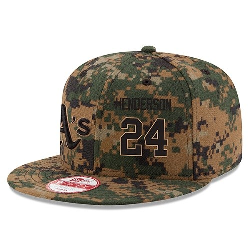 MLB Men's Oakland Athletics #24 Rickey Henderson New Era Digital Camo 2016 Memorial Day 9FIFTY Snapback Adjustable Hat