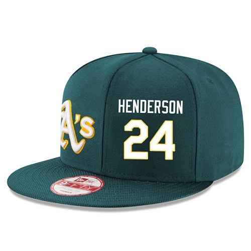 MLB Men's Oakland Athletics #24 Rickey Henderson Stitched New Era Snapback Adjustable Player Hat - Green/White