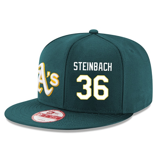 MLB Men's Oakland Athletics #36 Terry Steinbach Stitched New Era Snapback Adjustable Player Hat - Green/White