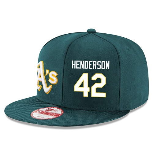MLB Men's Oakland Athletics #42 Dave Henderson Stitched New Era Snapback Adjustable Player Hat - Green/White