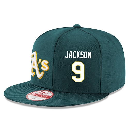 MLB Men's Oakland Athletics #9 Reggie Jackson Stitched New Era Snapback Adjustable Player Hat - Green/White