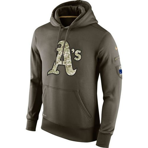 MLB Men's Nike Oakland Athletics Nike Olive Salute To Service KO Performance Hoodie