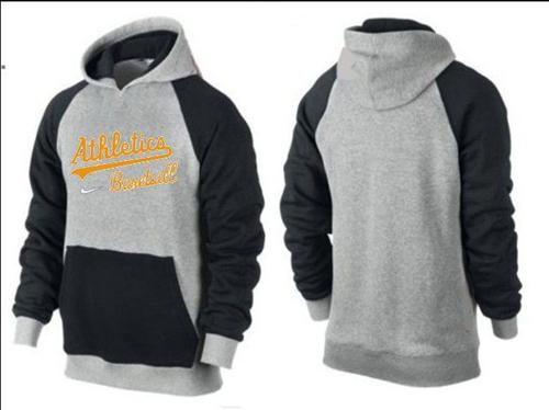 MLB Men's Nike Oakland Athletics Pullover Hoodie - Grey/Black