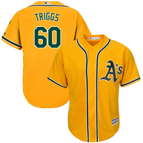 Men's Majestic Oakland Athletics #60 Andrew Triggs Replica Gold Alternate 2 Cool Base MLB Jersey