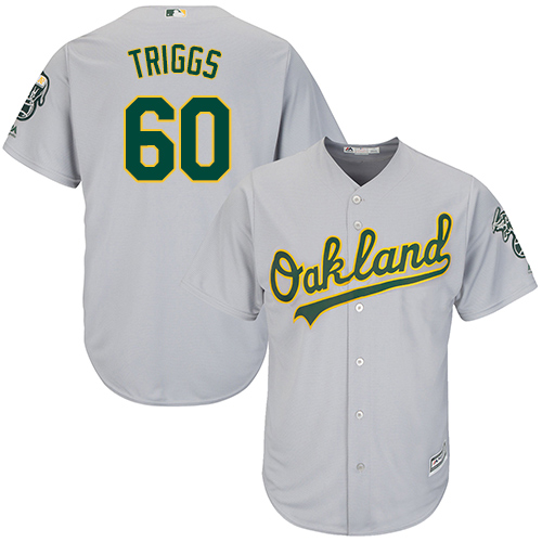 Men's Majestic Oakland Athletics #60 Andrew Triggs Replica Grey Road Cool Base MLB Jersey