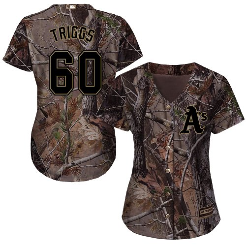 Women's Majestic Oakland Athletics #60 Andrew Triggs Authentic Camo Realtree Collection Flex Base MLB Jersey