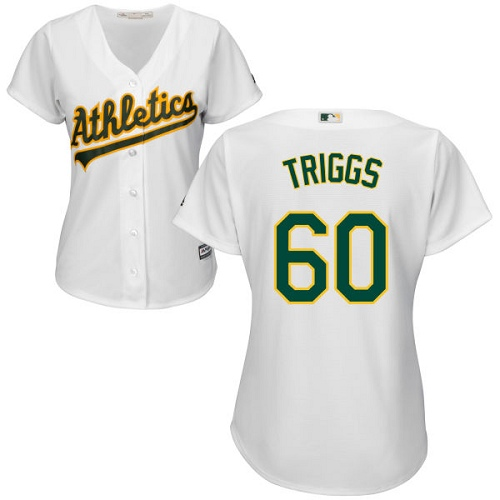 Women's Majestic Oakland Athletics #60 Andrew Triggs Authentic White Home Cool Base MLB Jersey