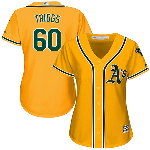 Women's Majestic Oakland Athletics #60 Andrew Triggs Replica Gold Alternate 2 Cool Base MLB Jersey