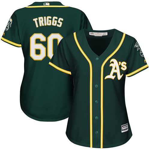 Women's Majestic Oakland Athletics #60 Andrew Triggs Replica Green Alternate 1 Cool Base MLB Jersey