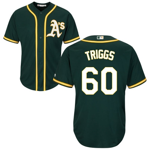 Youth Majestic Oakland Athletics #60 Andrew Triggs Authentic Green Alternate 1 Cool Base MLB Jersey