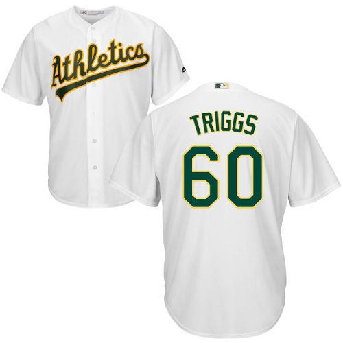 Youth Majestic Oakland Athletics #60 Andrew Triggs Authentic White Home Cool Base MLB Jersey