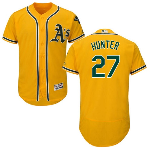 Men's Majestic Oakland Athletics #27 Catfish Hunter Gold Alternate Flex Base Authentic Collection MLB Jersey