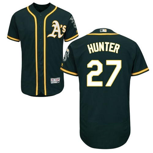 Men's Majestic Oakland Athletics #27 Catfish Hunter Green Alternate Flex Base Authentic Collection MLB Jersey
