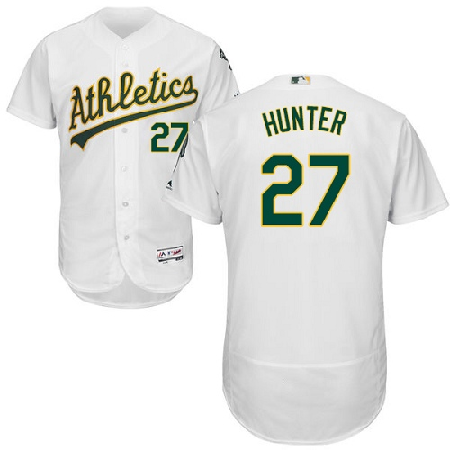 Men's Majestic Oakland Athletics #27 Catfish Hunter White Home Flex Base Authentic Collection MLB Jersey