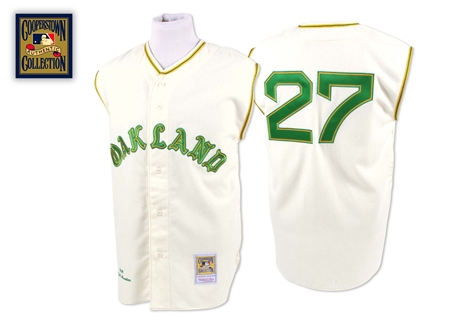 Men's Mitchell and Ness 1968 Oakland Athletics #27 Catfish Hunter Replica Cream Throwback MLB Jersey