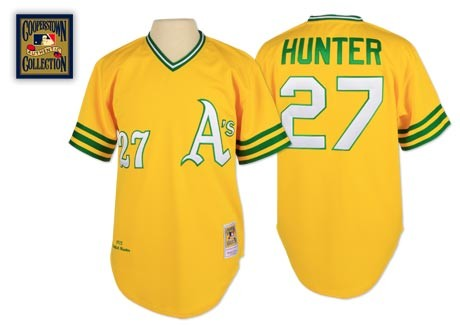 Men's Mitchell and Ness Oakland Athletics #27 Catfish Hunter Replica Gold Throwback MLB Jersey