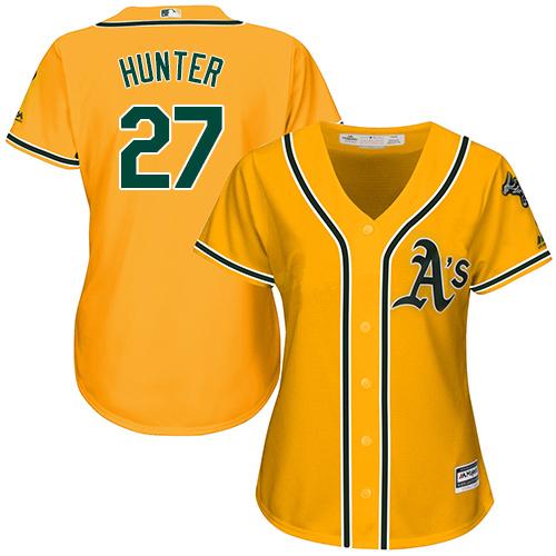 Women's Majestic Oakland Athletics #27 Catfish Hunter Authentic Gold Alternate 2 Cool Base MLB Jersey