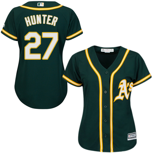 Women's Majestic Oakland Athletics #27 Catfish Hunter Authentic Green Alternate 1 Cool Base MLB Jersey