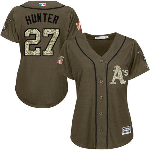 Women's Majestic Oakland Athletics #27 Catfish Hunter Authentic Green Salute to Service MLB Jersey