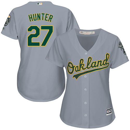 Women's Majestic Oakland Athletics #27 Catfish Hunter Authentic Grey Road Cool Base MLB Jersey