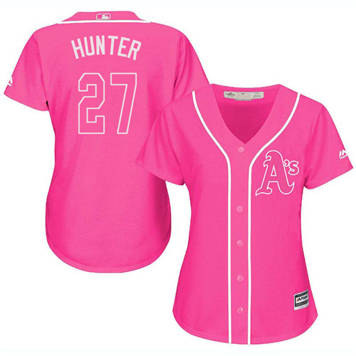 Women's Majestic Oakland Athletics #27 Catfish Hunter Authentic Pink Fashion Cool Base MLB Jersey