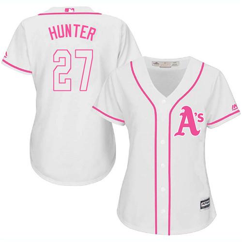 Women's Majestic Oakland Athletics #27 Catfish Hunter Authentic White Fashion Cool Base MLB Jersey