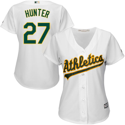 Women's Majestic Oakland Athletics #27 Catfish Hunter Authentic White Home Cool Base MLB Jersey