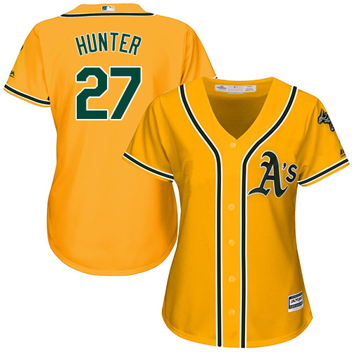 Women's Majestic Oakland Athletics #27 Catfish Hunter Replica Gold Alternate 2 Cool Base MLB Jersey