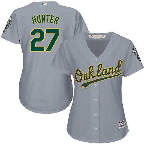 Women's Majestic Oakland Athletics #27 Catfish Hunter Replica Grey Road Cool Base MLB Jersey