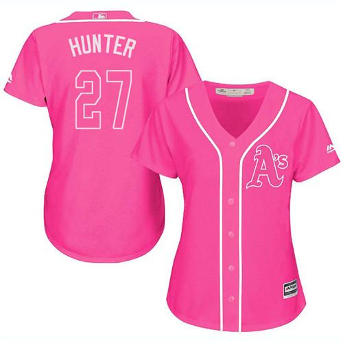 Women's Majestic Oakland Athletics #27 Catfish Hunter Replica Pink Fashion Cool Base MLB Jersey