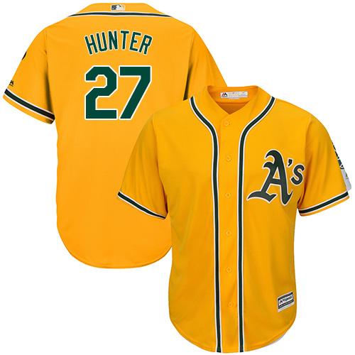Youth Majestic Oakland Athletics #27 Catfish Hunter Authentic Gold Alternate 2 Cool Base MLB Jersey