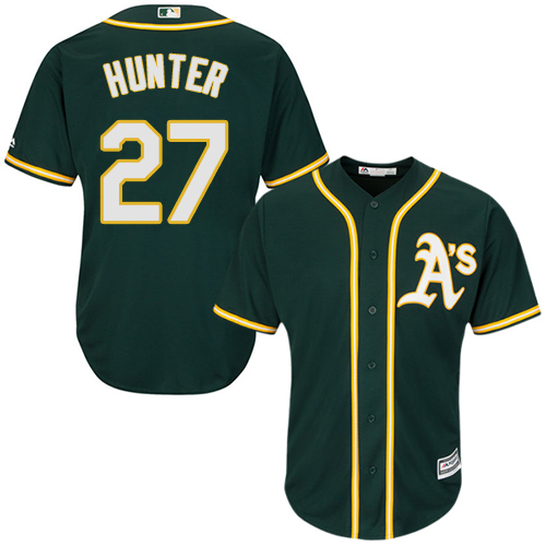 Youth Majestic Oakland Athletics #27 Catfish Hunter Authentic Green Alternate 1 Cool Base MLB Jersey