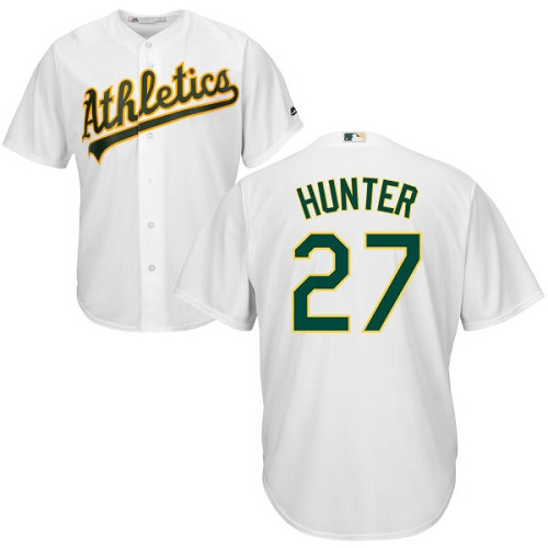 Youth Majestic Oakland Athletics #27 Catfish Hunter Authentic White Home Cool Base MLB Jersey