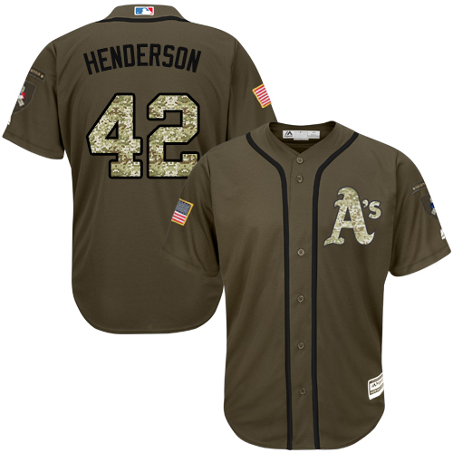 Men's Majestic Oakland Athletics #42 Dave Henderson Authentic Green Salute to Service MLB Jersey