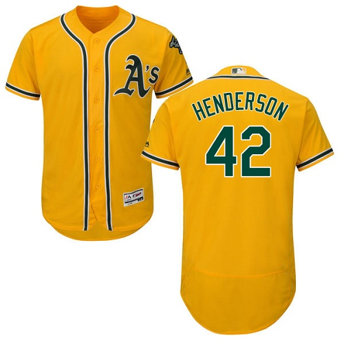 Men's Majestic Oakland Athletics #42 Dave Henderson Gold Alternate Flex Base Authentic Collection MLB Jersey