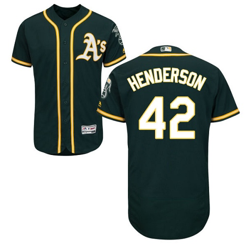 Men's Majestic Oakland Athletics #42 Dave Henderson Green Alternate Flex Base Authentic Collection MLB Jersey