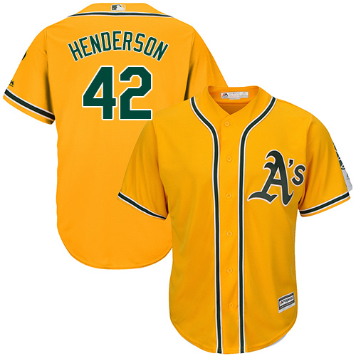Men's Majestic Oakland Athletics #42 Dave Henderson Replica Gold Alternate 2 Cool Base MLB Jersey