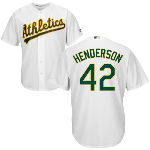 Men's Majestic Oakland Athletics #42 Dave Henderson Replica White Home Cool Base MLB Jersey