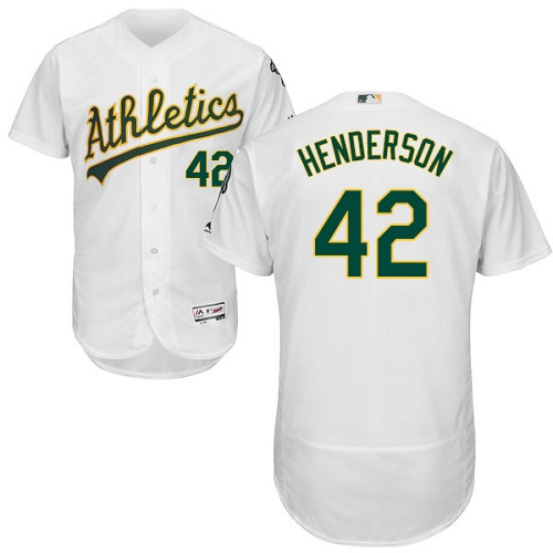 Men's Majestic Oakland Athletics #42 Dave Henderson White Home Flex Base Authentic Collection MLB Jersey