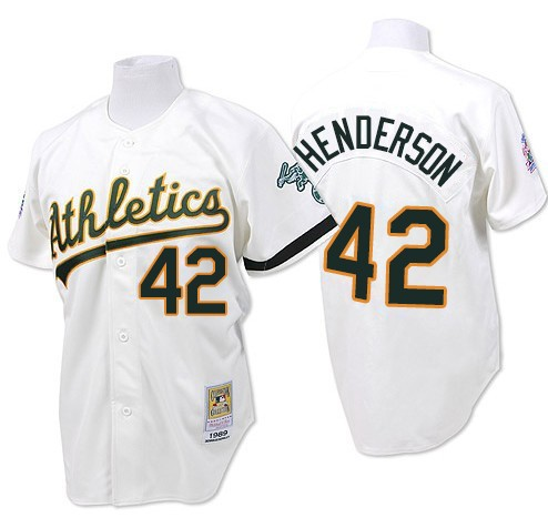 Men's Mitchell and Ness Oakland Athletics #42 Dave Henderson Replica White Throwback MLB Jersey