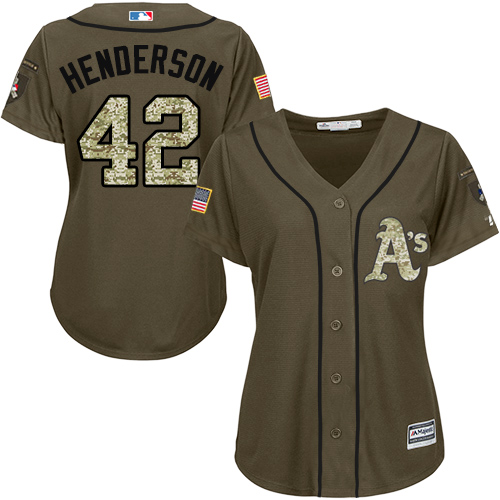 Women's Majestic Oakland Athletics #42 Dave Henderson Authentic Green Salute to Service MLB Jersey