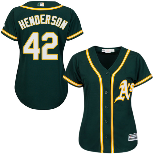 Women's Majestic Oakland Athletics #42 Dave Henderson Replica Green Alternate 1 Cool Base MLB Jersey