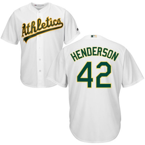 Youth Majestic Oakland Athletics #42 Dave Henderson Authentic White Home Cool Base MLB Jersey